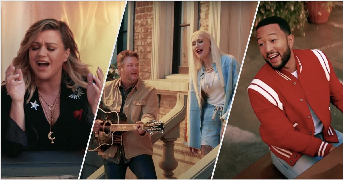 "John Legend, Kelly Clarkson, Gwen Stefani, and Blake Shelton Reunite to Sing ""One Love"""