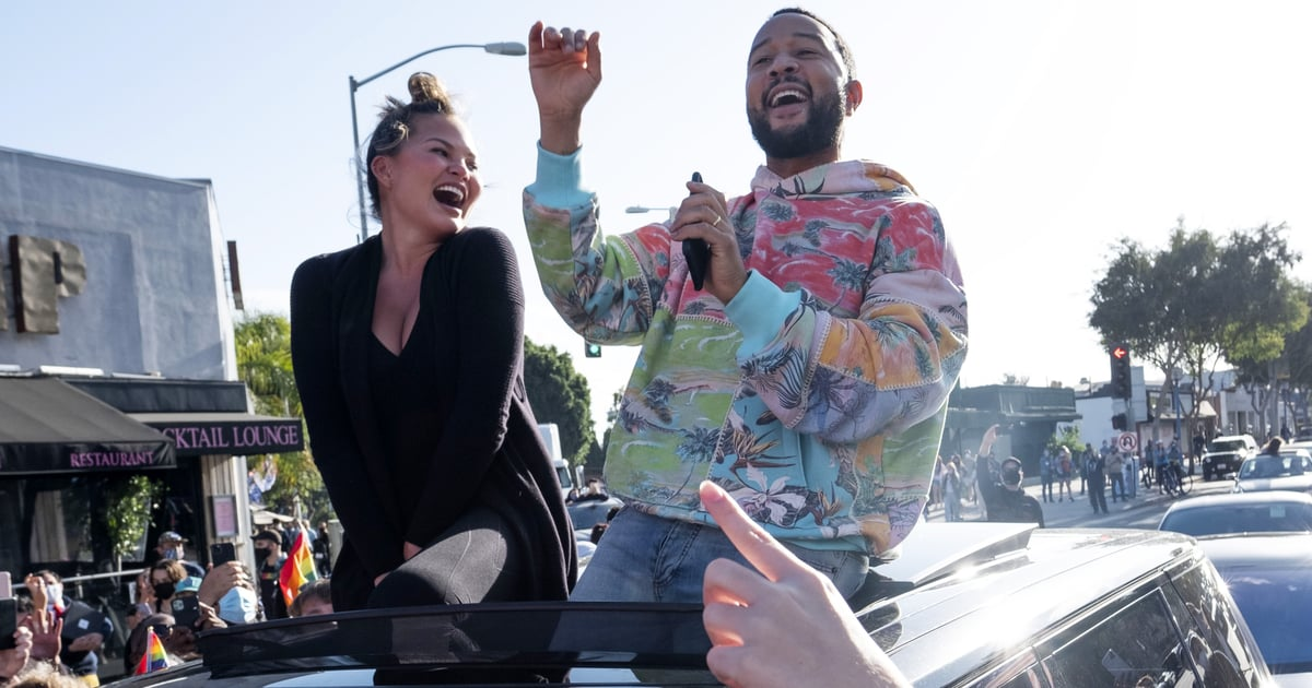 I Love That Chrissy Teigen and John Legend Joined the Biden-Harris Celebration From the Car