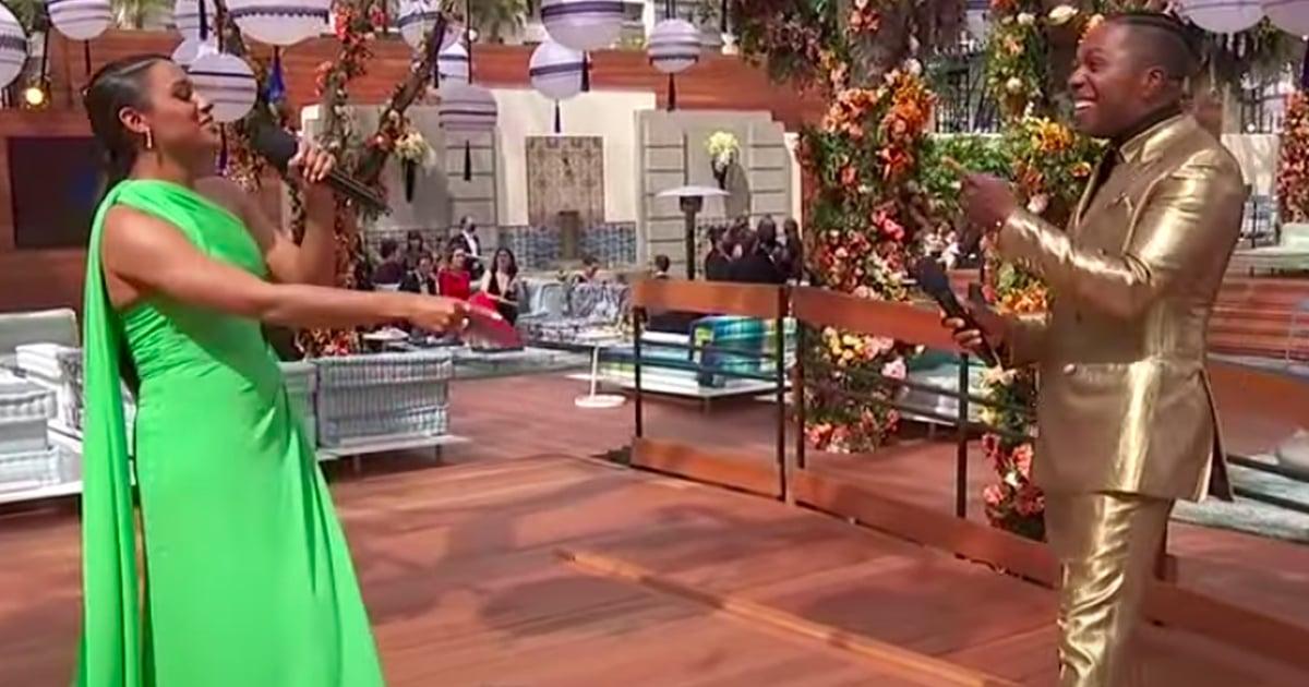 Ariana DeBose and Leslie Odom Jr. Had the Cutest Hamilton Reunion at the Oscars